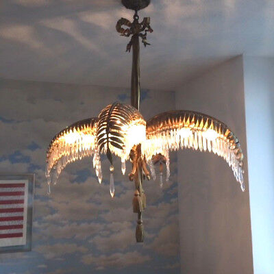 Vintage 1930s Brass French Four Palm Frond Hollywood Regency Chandelier
