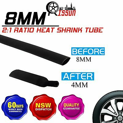 5M 8mm 2:1 Heat Shrink Wrie Wrap Cable Connection Electrical Black Tube Sleeve