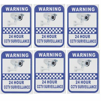 6 Pack Security Camera Surveillance Warning CCTV Sticker 70x90mm For Home Office