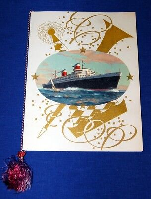 SS United States Cruise Ship 1955 Gala Dinner Menu With Cord & Tasel Excellent!