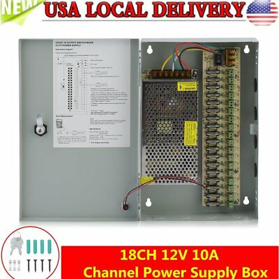 18CH Channel Power Supply Box for CCTV Camera Security Surveillance12V 10A DC BP
