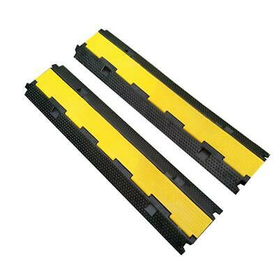 2pcs Cable Protector Ramps Rubber Electrical Wire Covers 100cm 2channel 5t load