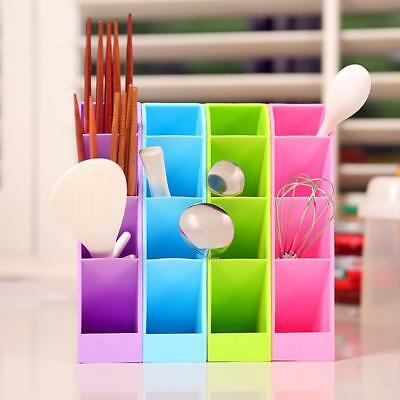 1x Plastic Desk Desktop Organizer Office Pen Pencil Holder Makeup Storage Tray