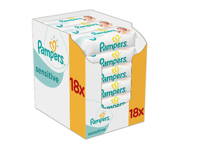 Pampers Sensitive Feuchttücher, 3-Monatspack, 1008 Tücher (18 x 56 Stueck)