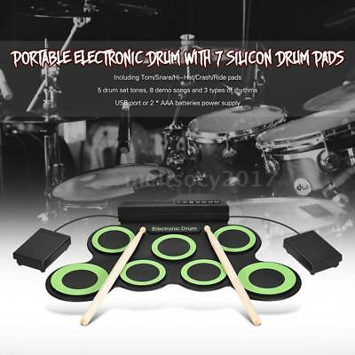 Compact Digital Electronic Roll Up Drum Kit 7 Silicon Drum Pads USB Powered G7D4