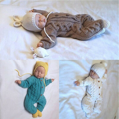 Infant Baby Boy Girl Warm Knitted Long Sleeve Romper Jumpsuit Bodysuit Outfits