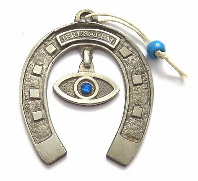 "Judaica 3"" X 2.5"" Wall Hanging Metallic Jerusalem Horse Shoe With An Evil Eye"