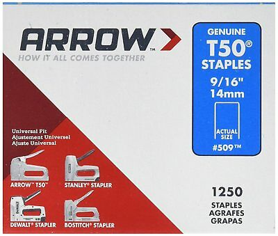 "Arrow 509 Lot Of  Packs 9/16"" T50 Staple Gun 5000 Staples Usa 4479200"