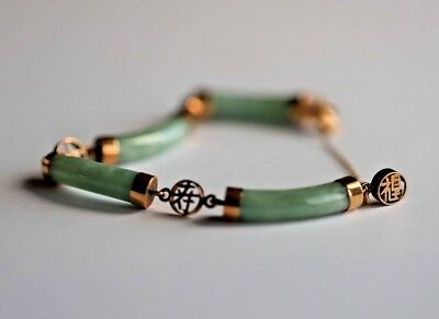 Chinese 14K Gold And Jade Jadite Four Section Bracelet