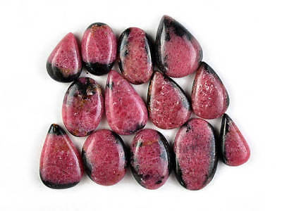 13 Pcs Unique Rhodonite Cabochon Gemstone,26x17mm,242Cts Natural Rhodonite#2483