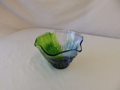 Vintage / Retro Green & Blue Murano? Art Glass Vase / Bowl - Gorgeous!!