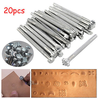 20x DIY Leather Working Saddle Making Carving Leather Craft Stamps Tools Kit Set