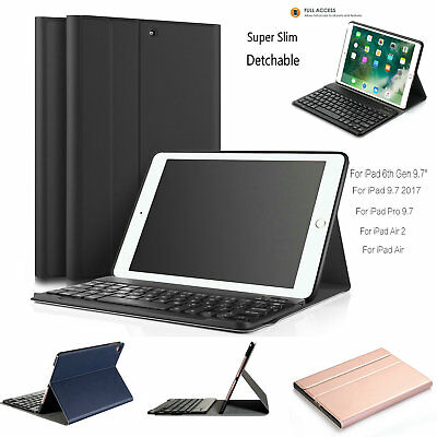 """Detachable Bluetooth Keyboard Leather Case Cover For iPad 9.7"""" 2017 Air 2/1 Pro"""
