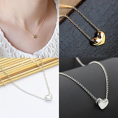Chic Women Jewelry Silver Gold Plated Heart Pendant Bib Statement Chain Necklace