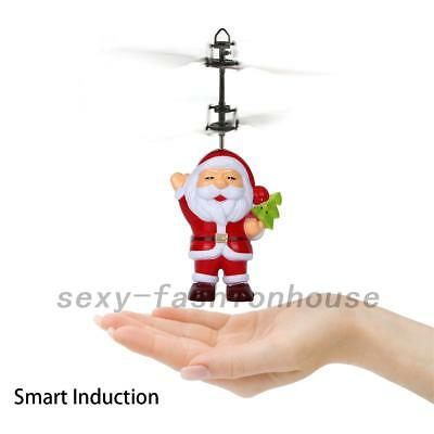 RC Flying Santa Helicopter Remote Control Hand Sensor Kids Toys Christmas Gift