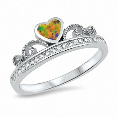 Half Eternity Heart Crown Ring Lab Light Blue Opal Round CZ 925 Sterling Silver