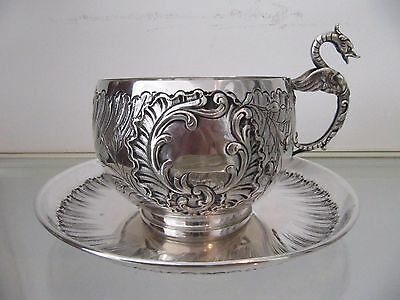 Gorgous Early 20th c french sterling silver chocolate cup rococo st Dragon 354g