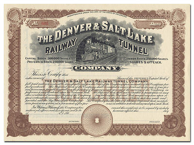 Denver & Salt Lake Railway Tunnel Company Stock Certificate