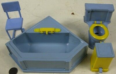 Vintage 1940's-50's Hard Plastic Ideal Doll Bathroom Set Diapers Yellow & Blue