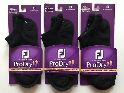 Footjoy Ladies PRO DRY Lightweight Pom Pom Ankle Socks Black 19603 3 Pack Deal