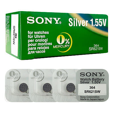 4 x SONY 364 batteries Silver oxide 1.5V 363 SR621SW SR60 V364 for watches