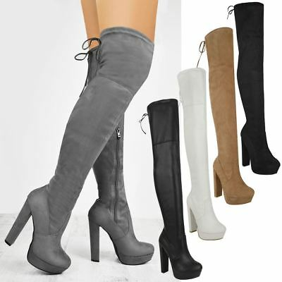 Over The Knee Thigh Boots Platform High Heel Womens Ladies Party Club Sexy Size