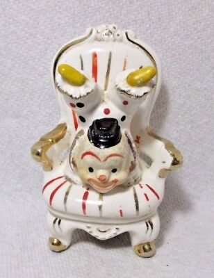 ANTIQUE c1800's  PORCELAIN CLOWN  TAPE MEASURE upside down in a chair,CELLULOID