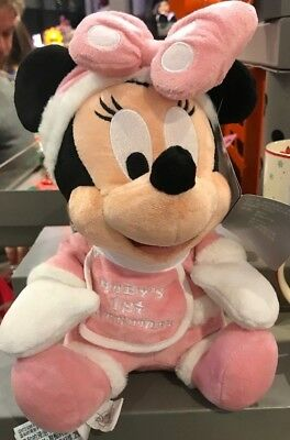 """Disney Parks Minnie Mouse Holiday Baby's First Christmas 9"""" Plush Toy Doll NEW"""