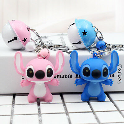 Lilo & Stitch Disney Action Figures Key chain Bells hang Luminous doll Toys GIft