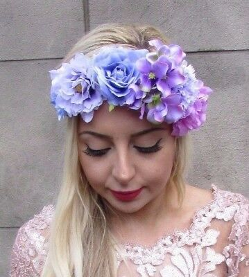 Lilac Lavender Light Purple Rose Hydrangea Flower Headband Festival Garland 4668