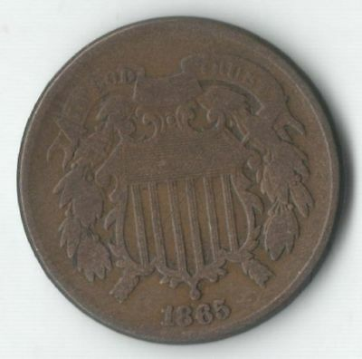 1865 Two Cent Coin - Great Detail - Visible Motto - Note Lines on Shield
