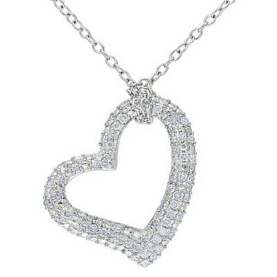"""1/3 CT Diamond Heart Pendant Necklace Sterling Silver) 18"""" Chain Valentine Gifts"""