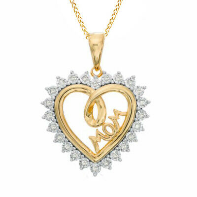 "1/10ct Diamond Shadow Heart with ""MOM"" Pendant in 925 Silver and 14K Gold Over"