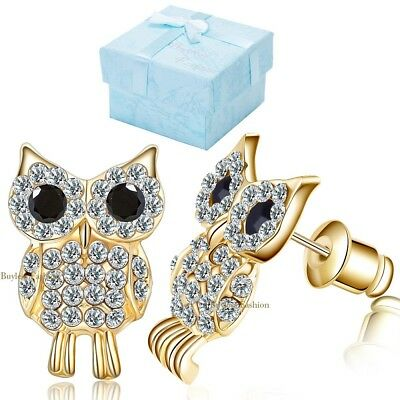 Hypoallergenic Surgical Steel Clear Studded Owl Earring