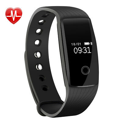 Bluetooth Fitness HR Tracker Monitor Activity Watch Heart Rate Wristband Fit Bit