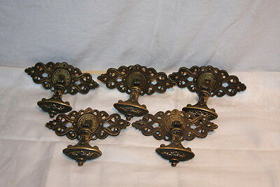 5 Antique 1893 Solid Brass KBC Keeler Victorian Drawer Drop Pulls FANCY