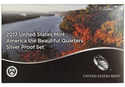 2017 S Parks Quarter America the Beautiful 90% Silver Proof Set W/Box 5 Coins US