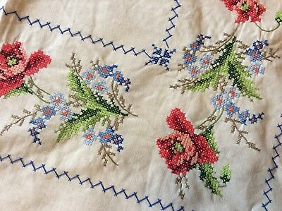 Vintage Hand Embroidered Tablecloth Cross Stitch Poppys