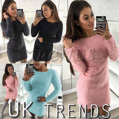 UK Womens Fluffy Dress Neck Jumper Dress Sweater Pullover Ladies Mini Size 6-14