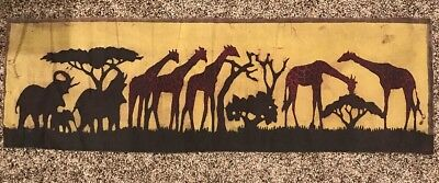 Authentic Tanzanian Batik Art. Elephants and Giraffes (9x29 in)