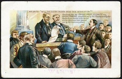 COFFEE SPICES Extracts Trade Card 1880's Court Resolution for THOMPSON TAYLOR CO