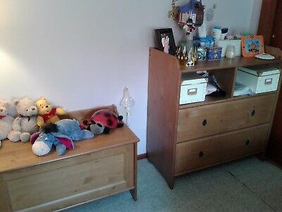 Baby Furniture, dresser, plus changing table, toddler bed, and toy chest