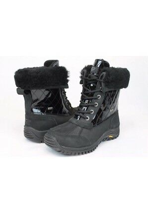 Ugg Australia Womens Adirondack Quilted Winter Snow Black Color Boot Size 8 US