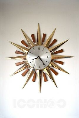 60s 70s fabulous Iconic Mid Century Metamec starburst sunburst brass wall clock