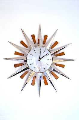 60s 70s fabulous Iconic Mid Century Metamec starburst sunburst chrome wall clock
