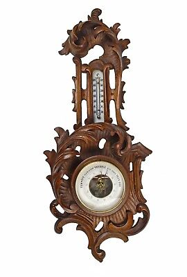 Antique Leaf Carved Barometer, Thermometer, French.