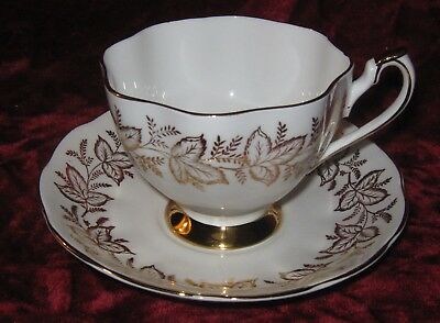 1 - Queen Anne Gold Leaves on white Tea Cup and Saucer (2017-169)