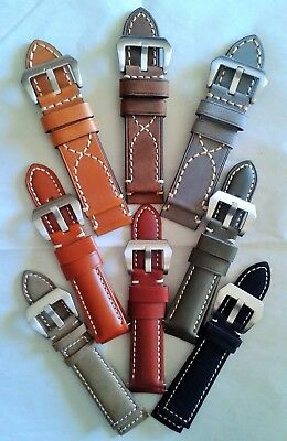 22mm - 24mm - 26mm - Genuine Leather Watch Strap - PAM Style Buckle + Pins
