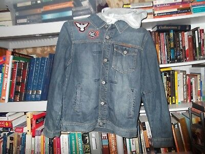 Authentic Rare 2011 Boy's Patch Guess Hooded Blue Jean Denim Jacket size XL