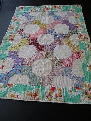"""Vintage 1930's Hand Quilted Baby/crib Quilt.feed-Sack Fabrics..35 1/2"""" X 25 1/2"""""""